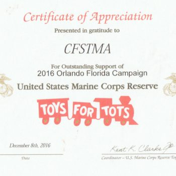 CFSTMA partners with Unites States Marine Corps – Toys for Tots