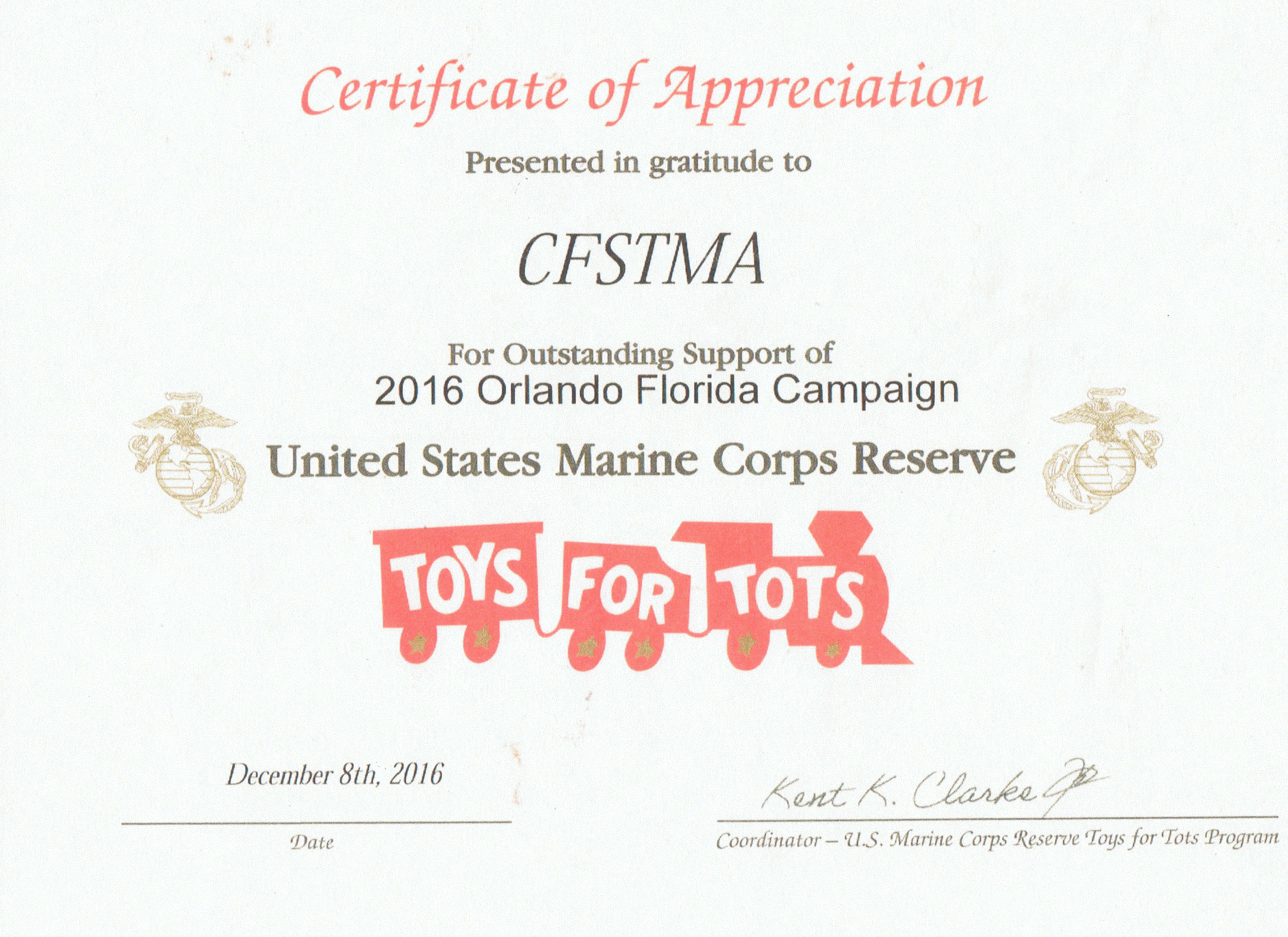 Toys For Tots Certificate : Cfstma partners with unites states marine corps toys for